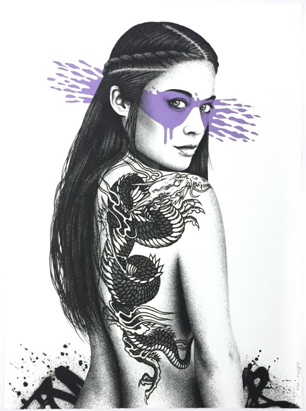 """Senaka"" by FinDAC.  76 x 56cm Screenprint, hand-finished.  Ed of 35 S/N.  250€ ($282) (Heliotrope)"