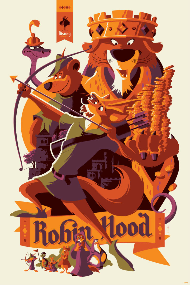 """Robin Hood"" by Tom Whalen.  24"" x 36"" 7-coior Screenprint.  Ed of 290 N.  $65"