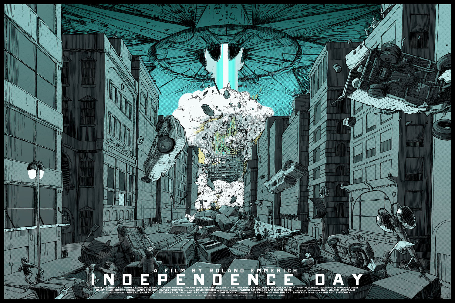"""Independence Day - 20th Anniversary"" by David Kloc.  36"" x 24"" Screenprint w/ GID.  Ed of 200 N.  $50"