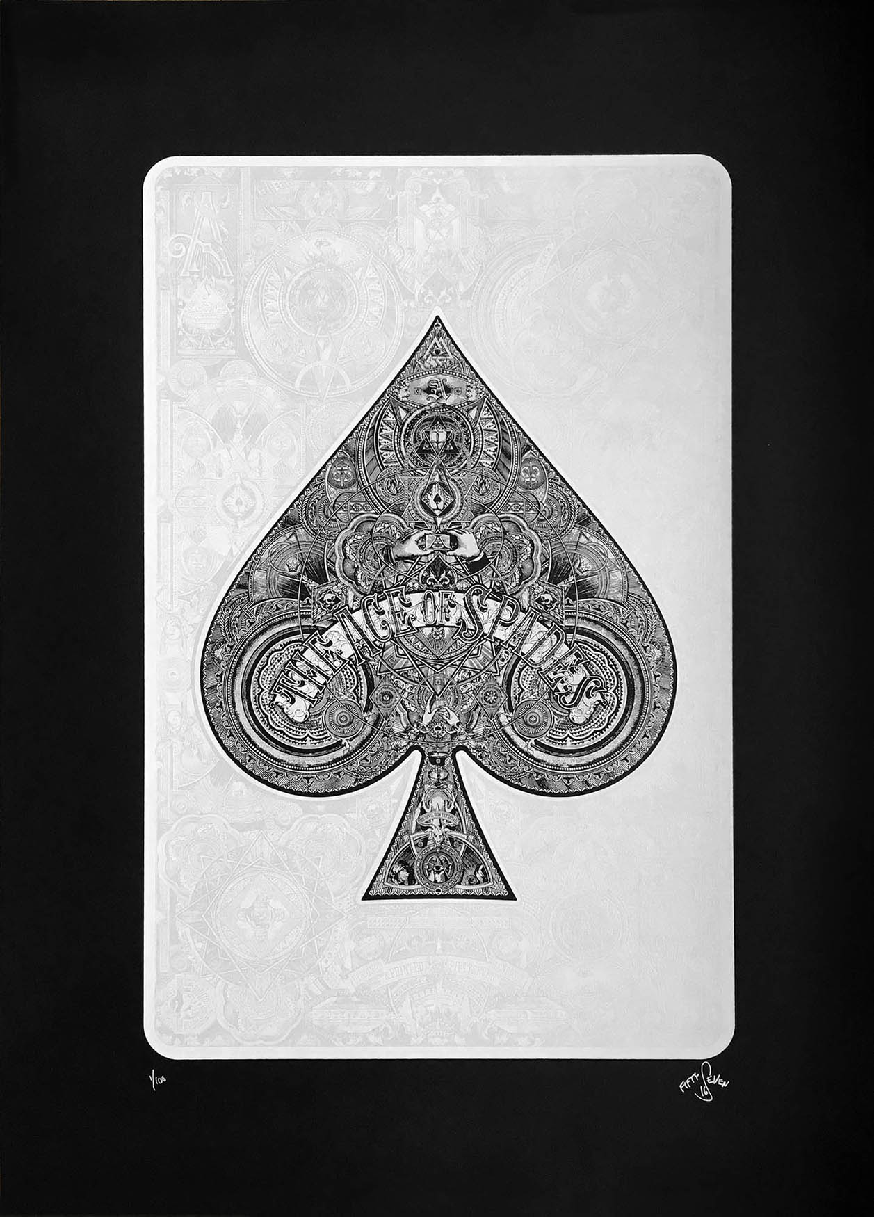 """Ace of Spades 2"" by Fiftyseven.  2-color Screenprint.  500 x 700mm (Ed of 100, £100) : 594 x 841mm (Ed of 20, £250)"