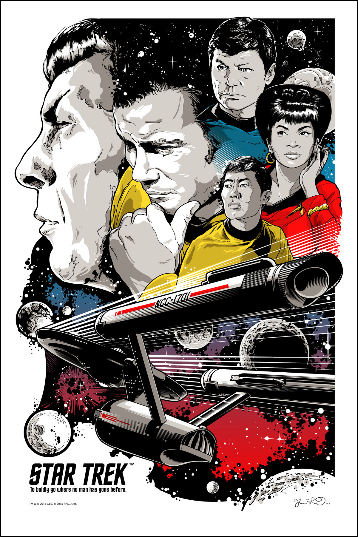 """To Boldly Go"" by Joshua Budich.  24"" x 36"" 6-color Screenprint.  Ed of 500.  $50"