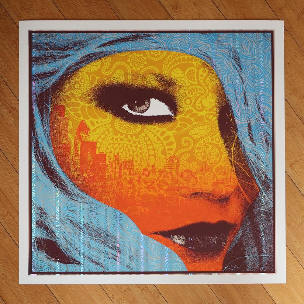 """Down at the City"" by Adam Pobiak.  57 x 57cm 6-color Screenprint."