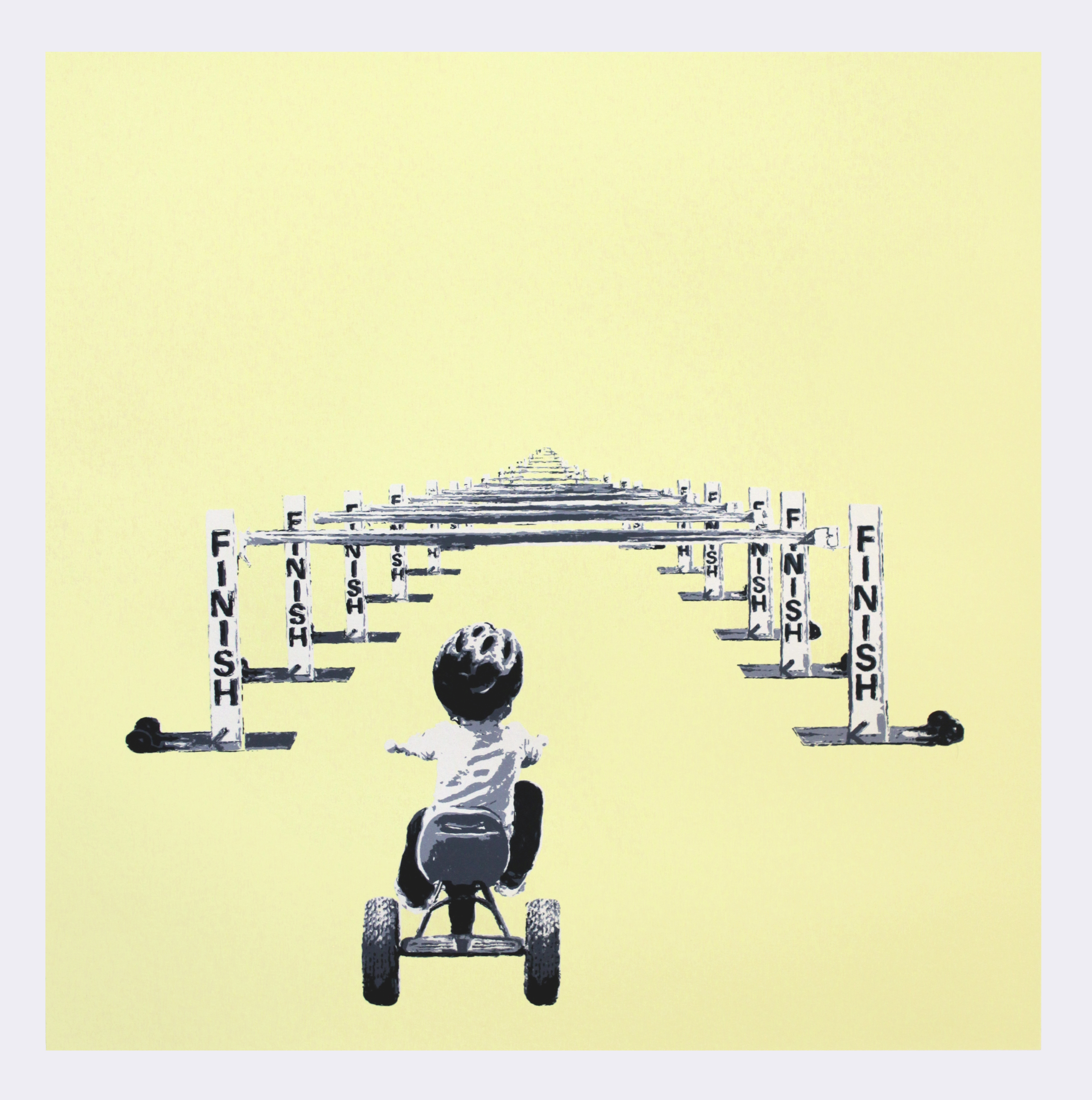 """Finish Line"" by Slate Kolain.  22"" x 22"" 5-color Screenprint.  Ed of 8 S/N.  $200 (Yellow)"