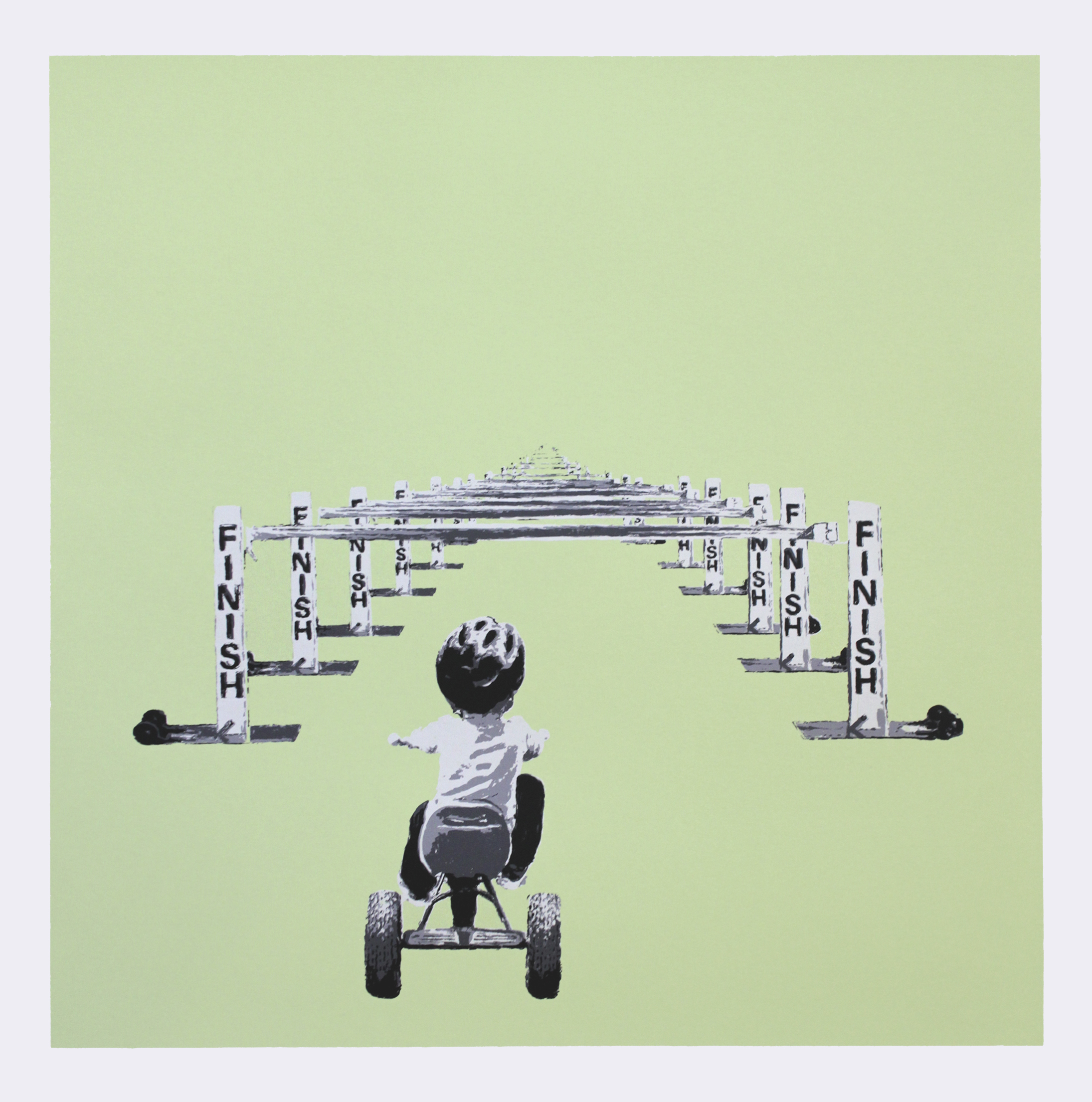 """Finish Line"" by Slate Kolain.  22"" x 22"" 5-color Screenprint.  Ed of 8 S/N.  $200 (Green)"