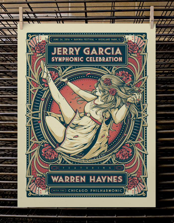 """Jerry Garcia Symphonic Celebration - Highland Park, IL 2016"" by Joel Hunter.  18"" x 24"" 3-color Screenprint.  AP edition of 40 S/N.  $50"