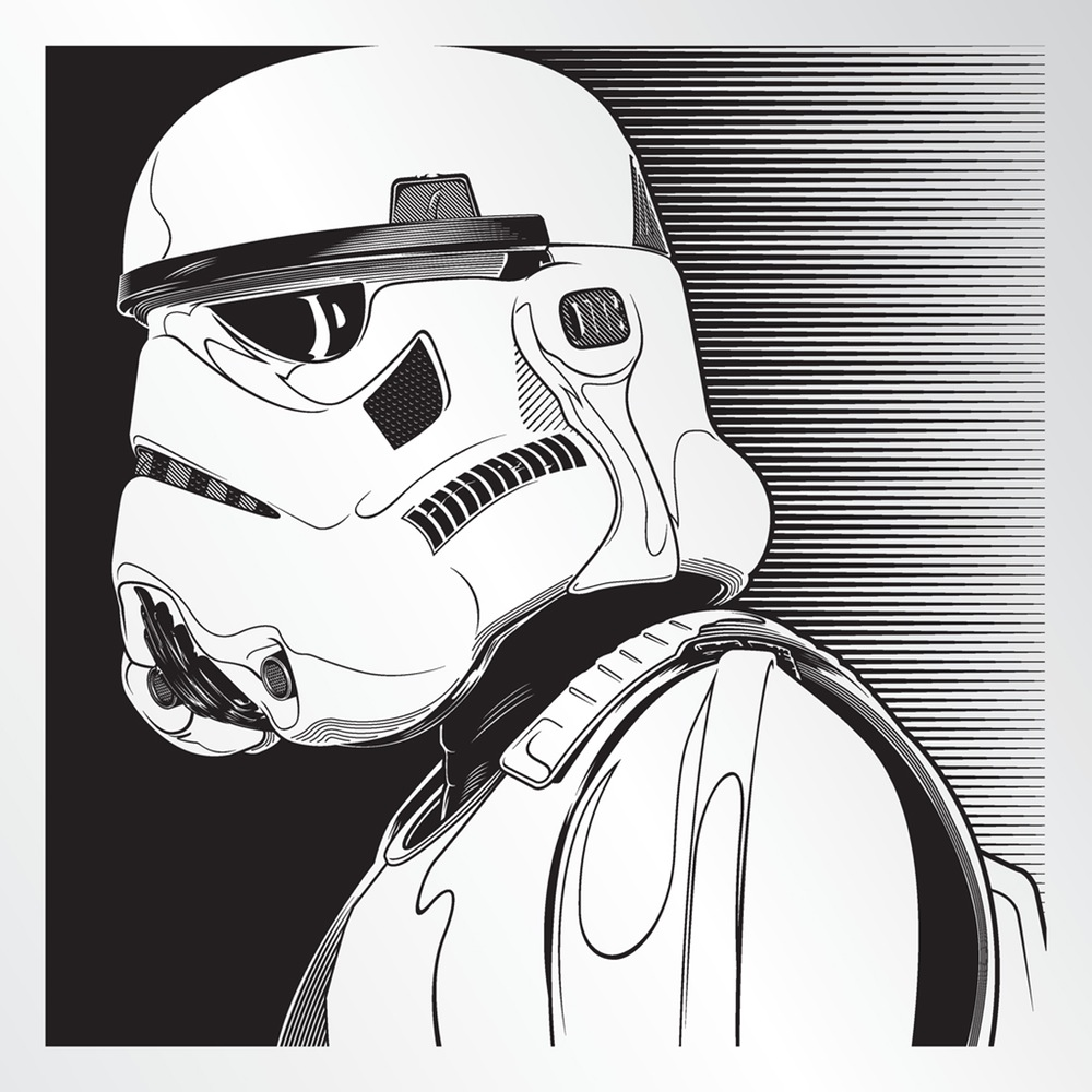 """Stormtrooper"" by Joshua Budich.  12"" x 12"" Laser engrave.  Ed of 100 S/N.  $85"