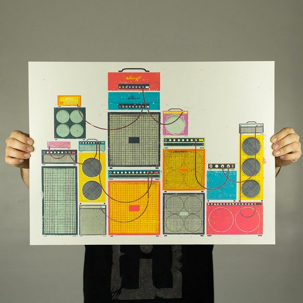 """Amp Stack"" by Eric Nyffeler.  24"" x 18"" 5-color Screenprint.  Ed of 100.  $25"
