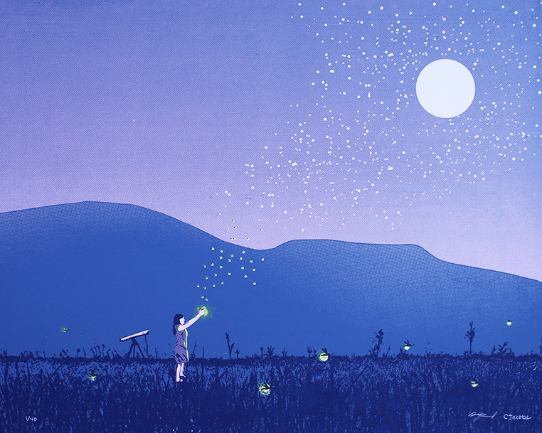 """Fireflies"" by Arsenal Handicraft.  16"" x 20"" 4-color Screenprint.  Ed of 40 S/N.  $40"