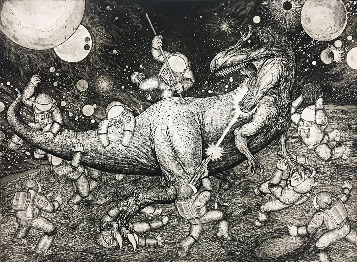 """Terror Of Titan"" by Joe Carr.  27"" x 35"" Intaglio.  Ed of 25 S/N.  $150"