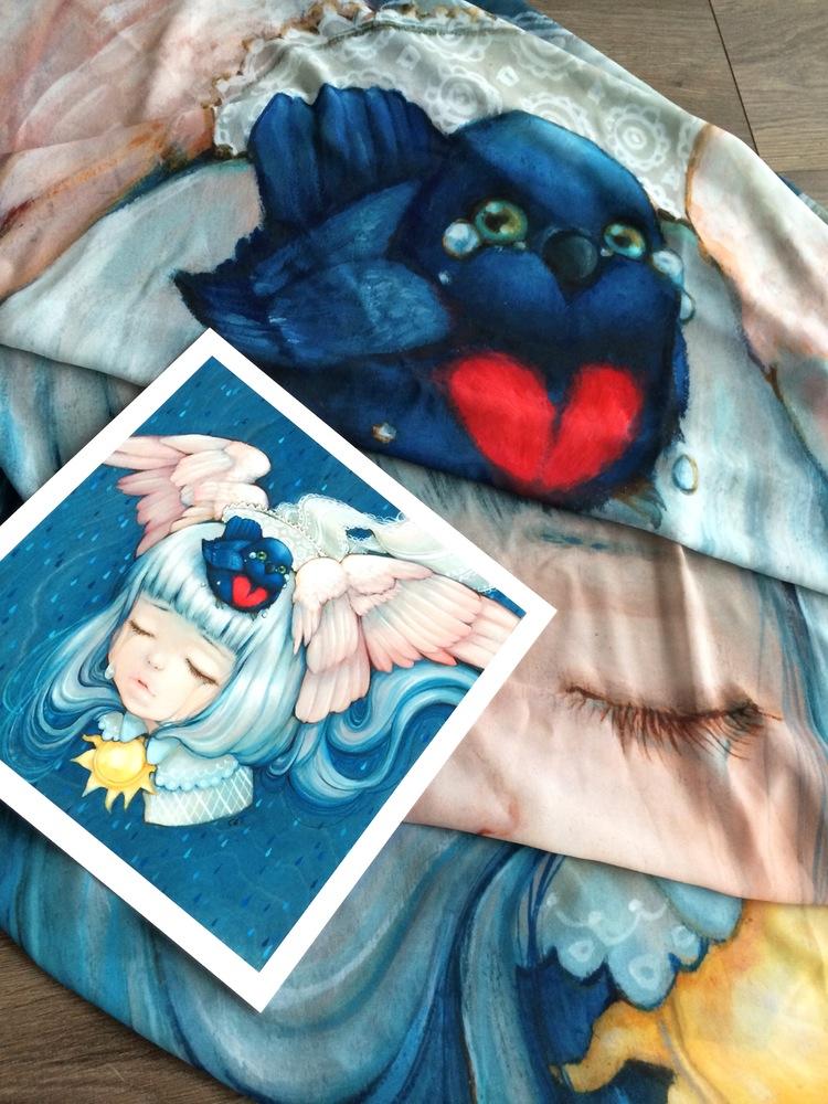 """Little Bird"" by Camilla d'Errico.  10"" x 10"" Giclee + Scarf.  Timed edition S/N.  $85"