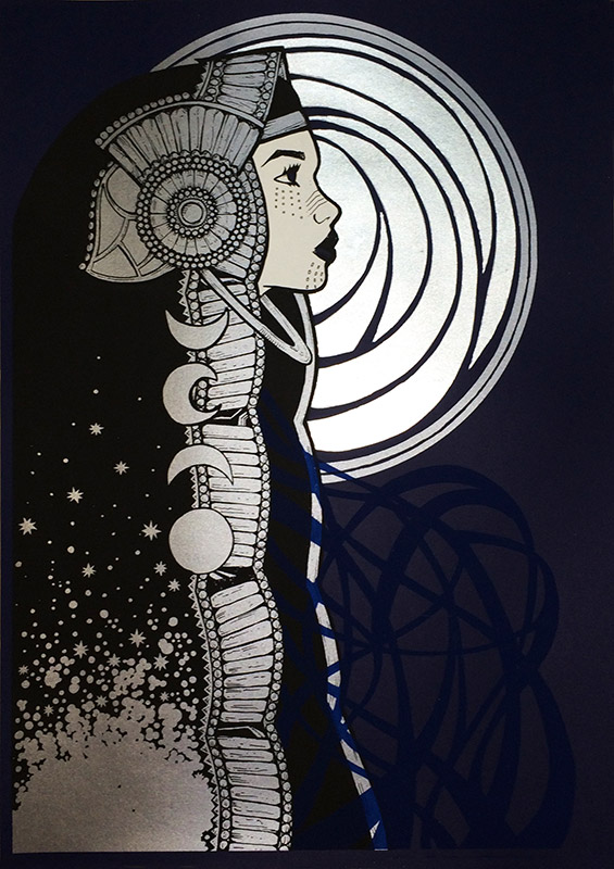 """Luna"" by Malleus.  3-color Screenprint w/ silver leaf.  Ed of 14 S/N.  (variant)"