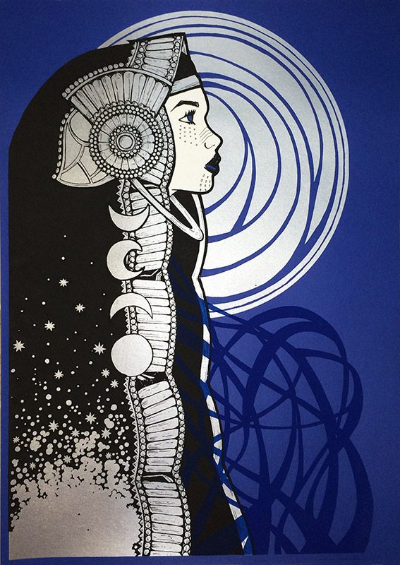 """Luna"" by Malleus.  3-color Screenprint.  Ed of 44 S/N."