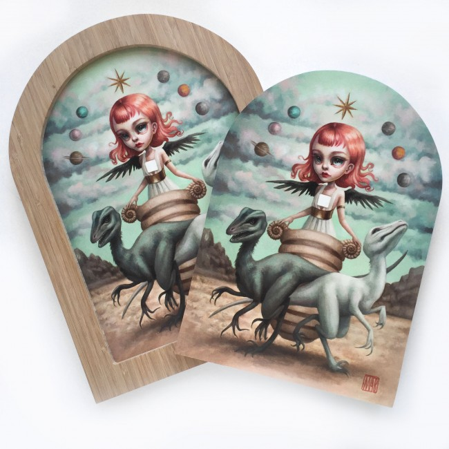 """""""The Chariot"""" by Mab Graves.  8"""" x 10"""" print on wood.  Timed edition S/N.  $100 unframed : $175 framed"""
