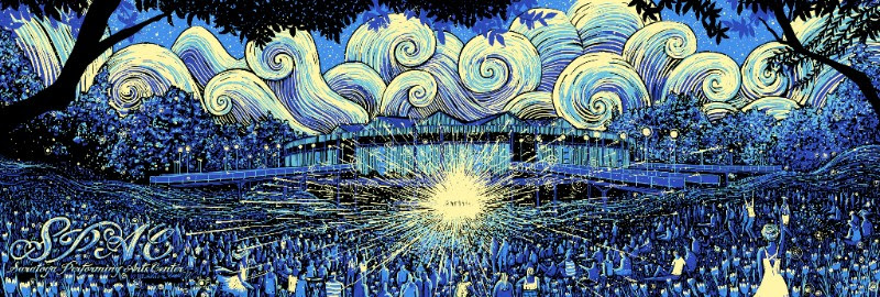 """Saratoga Springs Performing Arts Center (SPAC)"" by James R Eads.  12"" x 36"" 4-color Screenprint.  Ed of 100 S/N.  $75 (GID)"