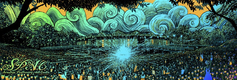"""Saratoga Springs Performing Arts Center (SPAC)"" by James R Eads.  12"" x 36"" 4-color Screenprint.  Ed of 150 S/N.  $85 (Rainbow foil)"