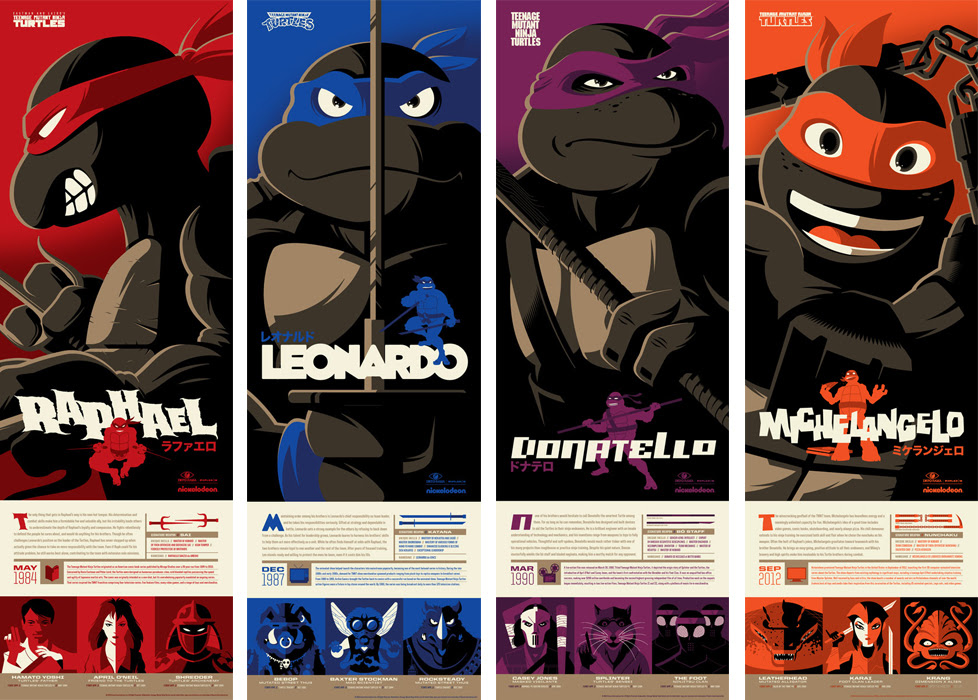 "TMNT by Tom Whalen. 12""x36"" screen print. Hand numbered. Edition of 275. Printed by D&L Screenprinting. $40 each"