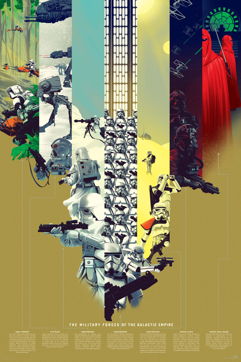 "The Military Forces of the Galactic Empire (Variant) by Kevin Tong. 24""x36"" screen print. Signed & hand numbered. Edition of 175. Printed by D&L Screenprinting. $80"