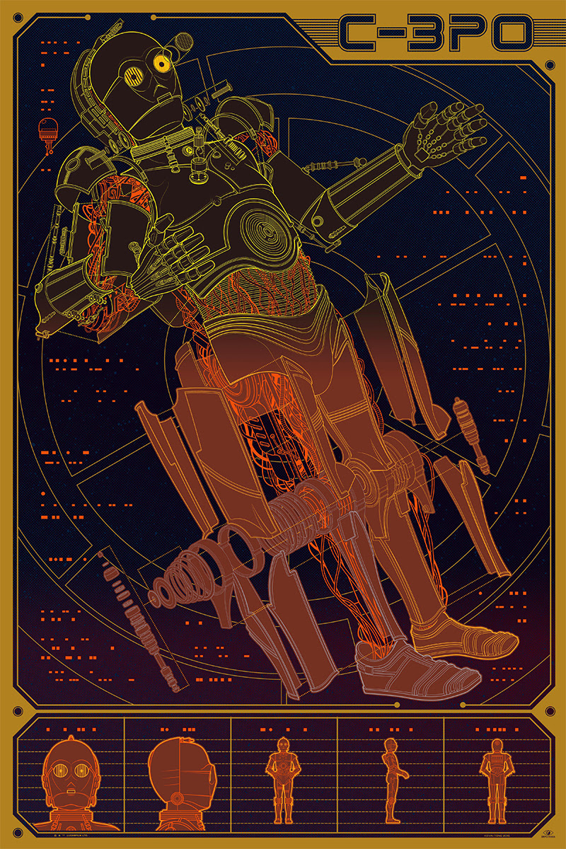 "C-3PO by Kevin Tong. 24""x36"" screen print. Hand numbered. Edition of 325. Printed by D&L Screenprinting. $60"