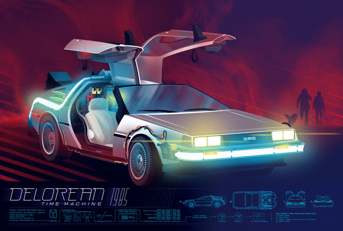 "The Delorean by Kevin Tong. 36""x24"" screen print. Hand numbered. Edition of 325. Printed by D&L Screenprinting. $45"