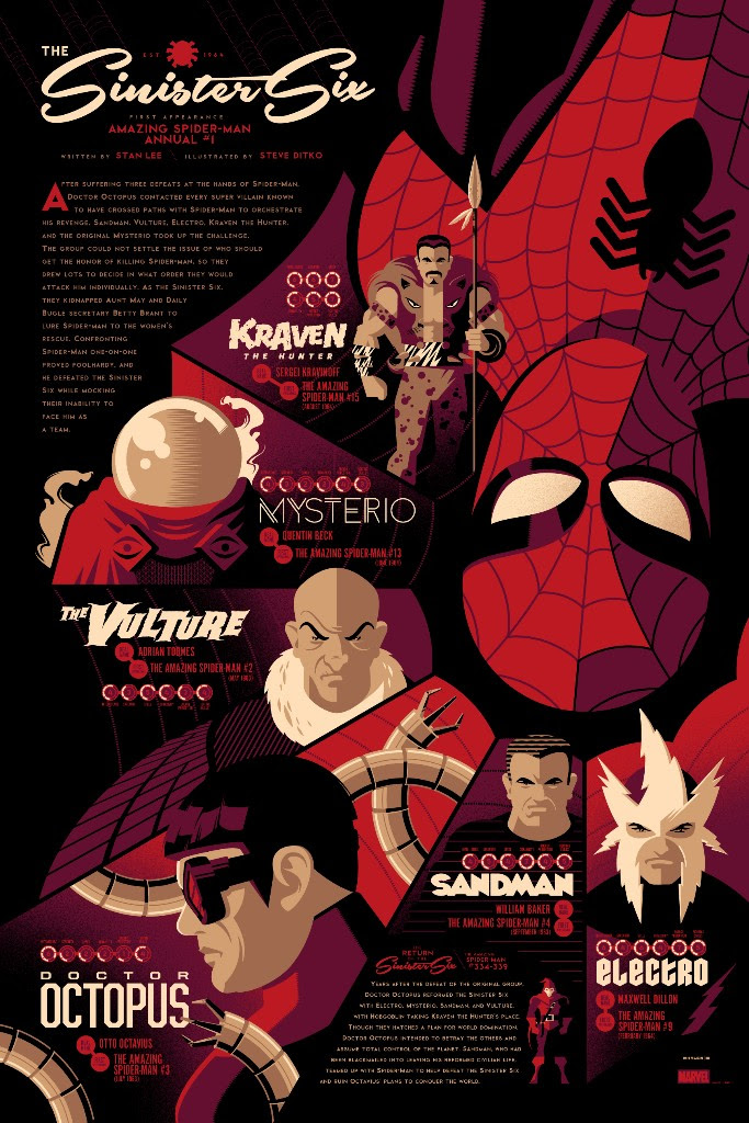 "Sinister Six (Variant) by Tom Whalen. 24""x36"" screen print. Signed & hand numbered. Edition of 150. Printed by D&L Screenprinting. $65"