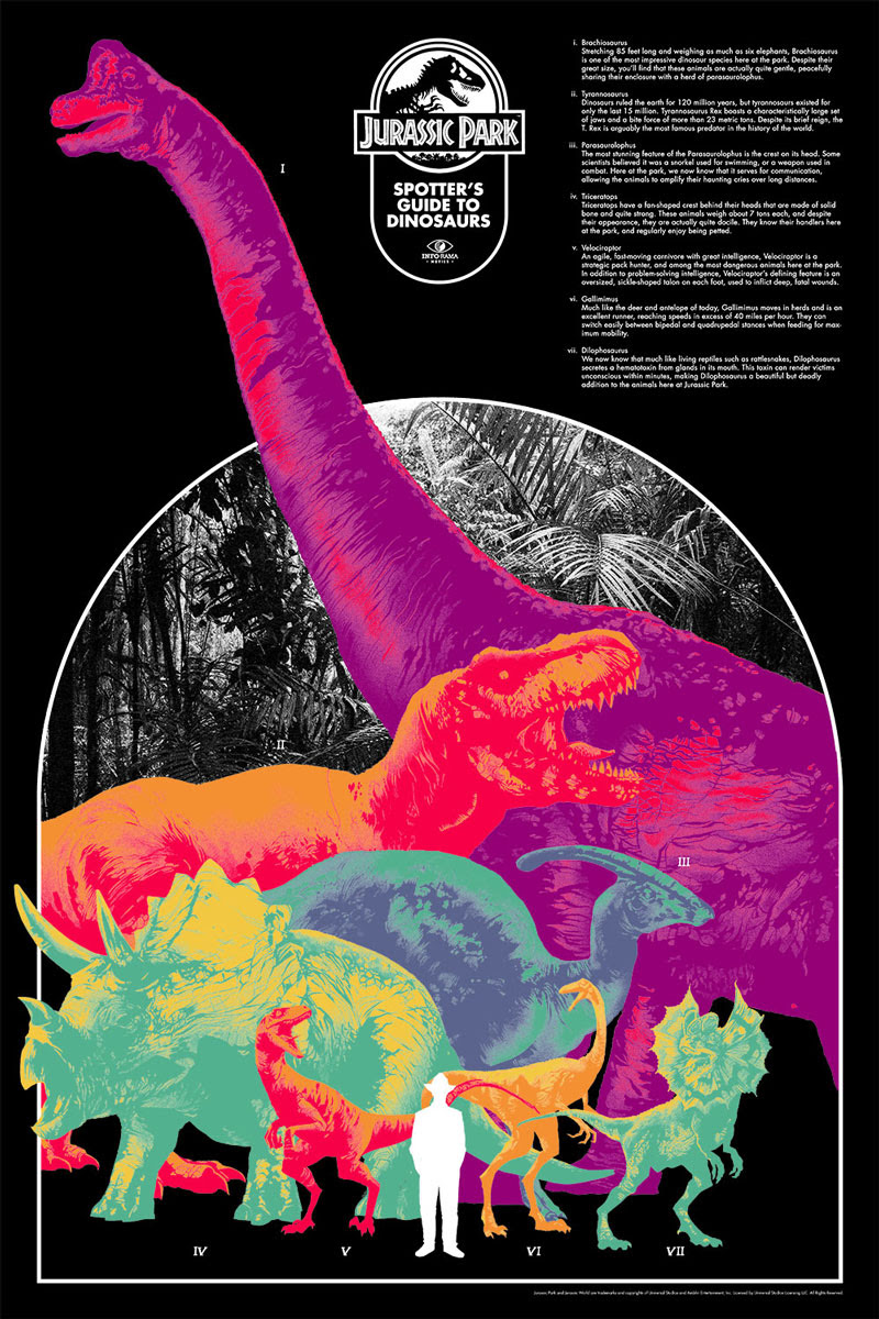 "Jurassic Park by Matt Taylor. 24""x36"" screen print. Signed & hand numbered. Edition of 275. Printed by D&L Screenprinting. $45"