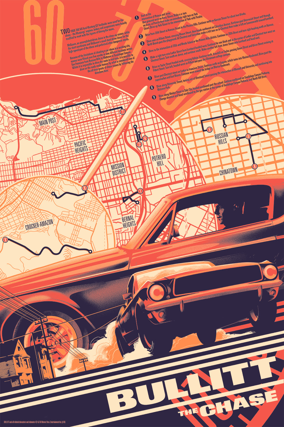 "Bullitt by Matt Taylor. 24""x36"" screen print. Hand numbered. Edition of 250. Printed by D&L Screenprinting. $45"