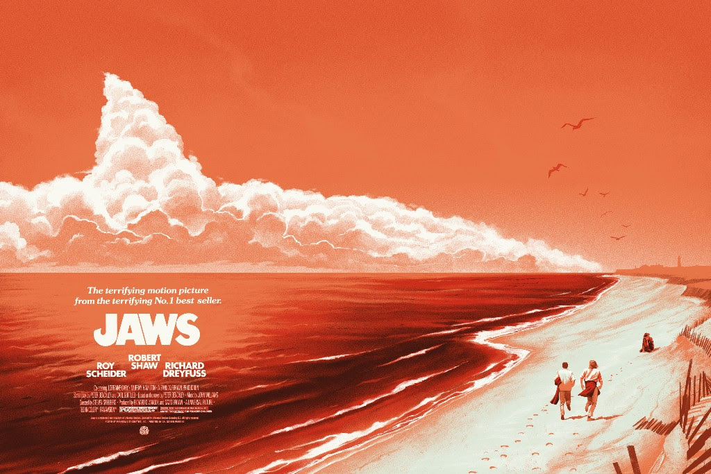 "Jaws (Variant) by Phantom City Creative. 36""x24"" screen print. Hand numbered. Edition of 150. Printed by D&L Screenprinting. $65"