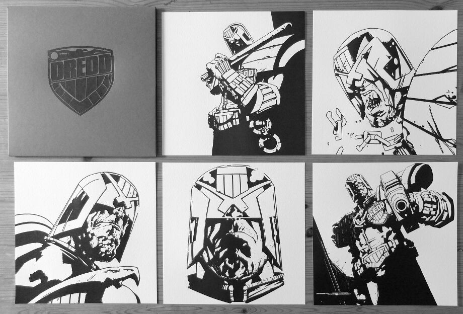 """Judge Dredd"" by Jock.  (5) 8"" x 8"" Letterpress.  Ed of 160 N.  £60 ($80)"