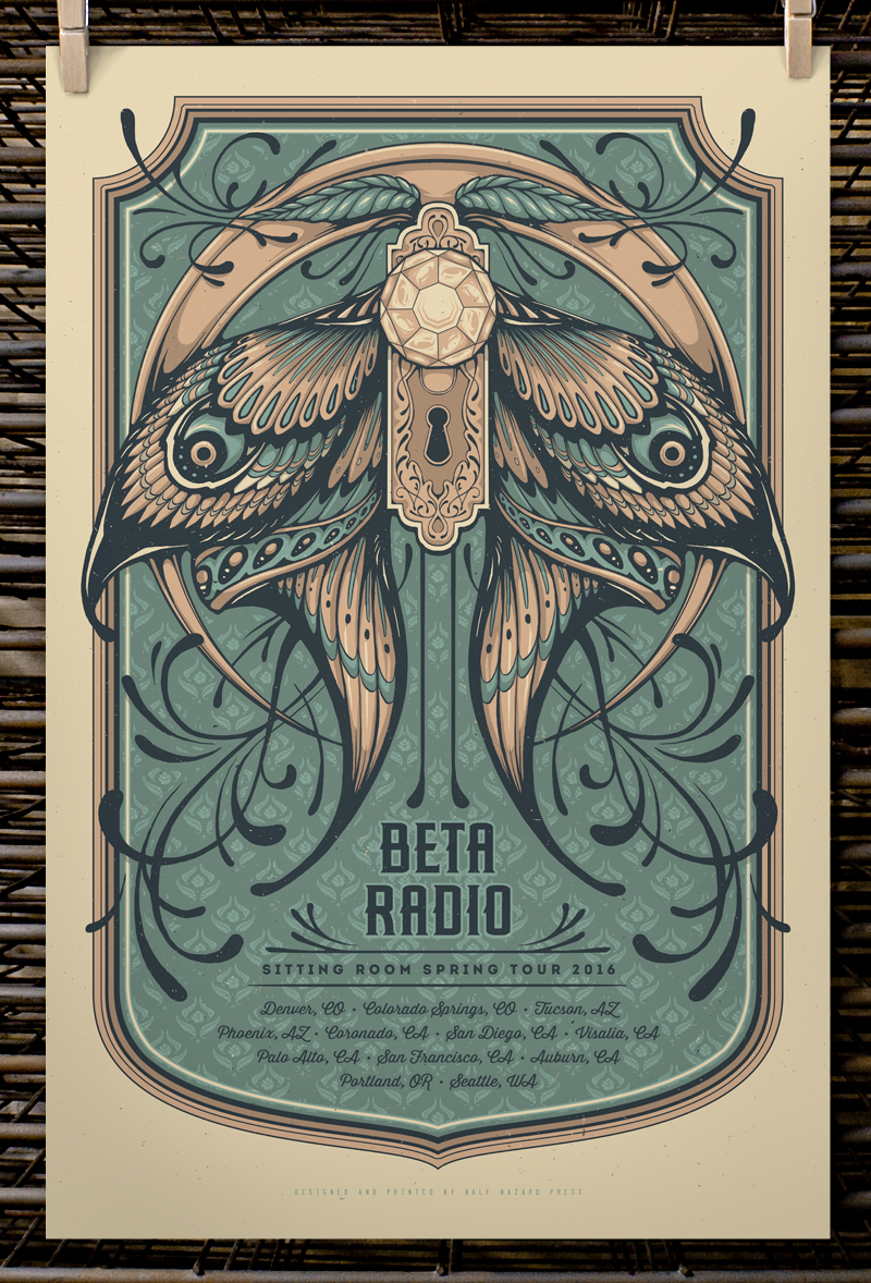 """Beta Radio - Sitting Room Spring Tour 2016"" by Joel Hunter.  16"" x 20"" 3-color Screenprint.  AP edition of 20 S/N.  $25"