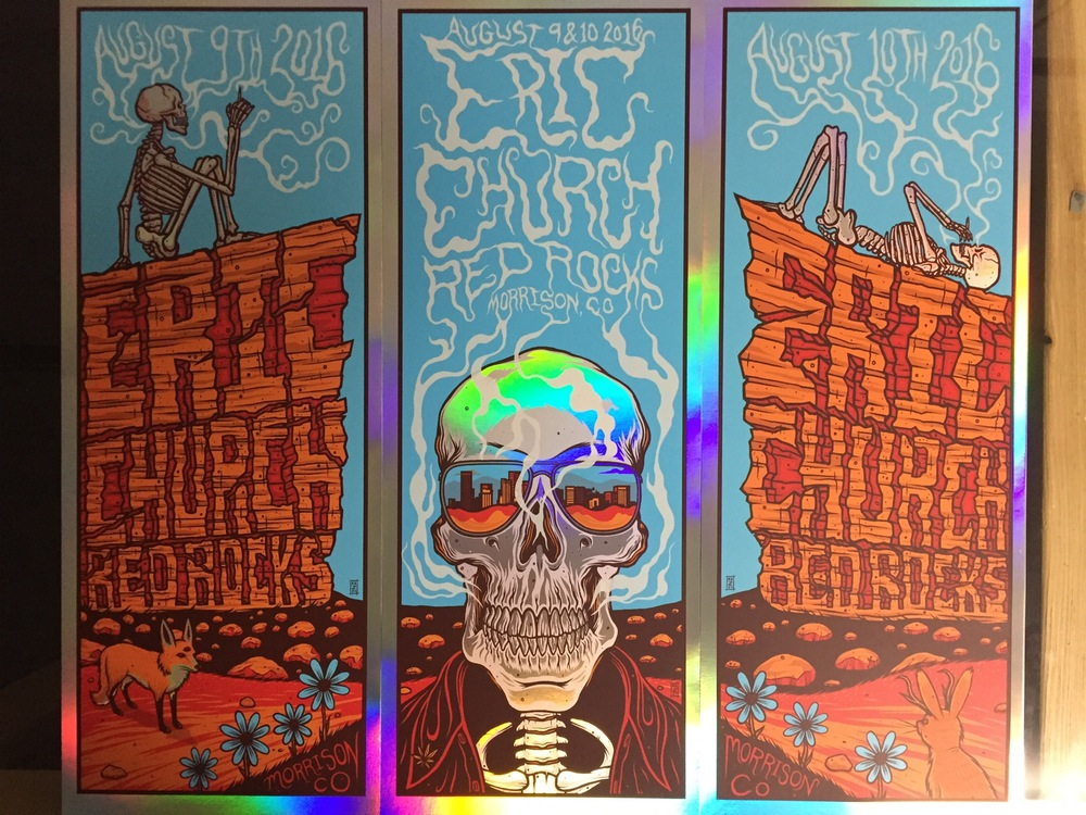 """Eric Church - Morrison, CO 2016"" by Jim Mazza.  (3) 9"" x 24"" 6-color Screenprint.  Ed of 20 S/N.  $300 set (Foil)"
