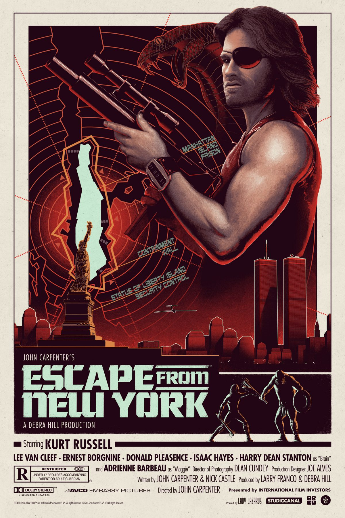 """Escape From New York"" by Matt Ferguson.  24"" x 36"" Screenprint w/ GID.  Ed of 125.  $60"
