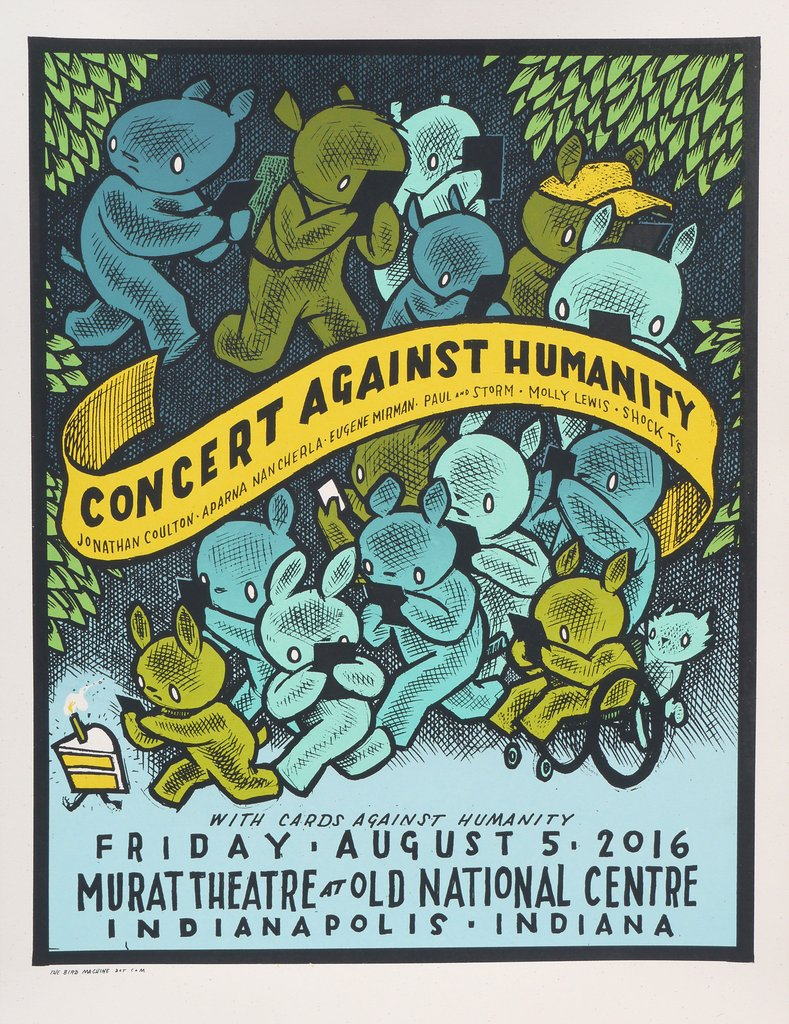 """Concert Against Humanity 2016"" by Jay Ryan.  18"" x 24"" 4-color Screenprint.  Ed of 70 S/N.  $20"