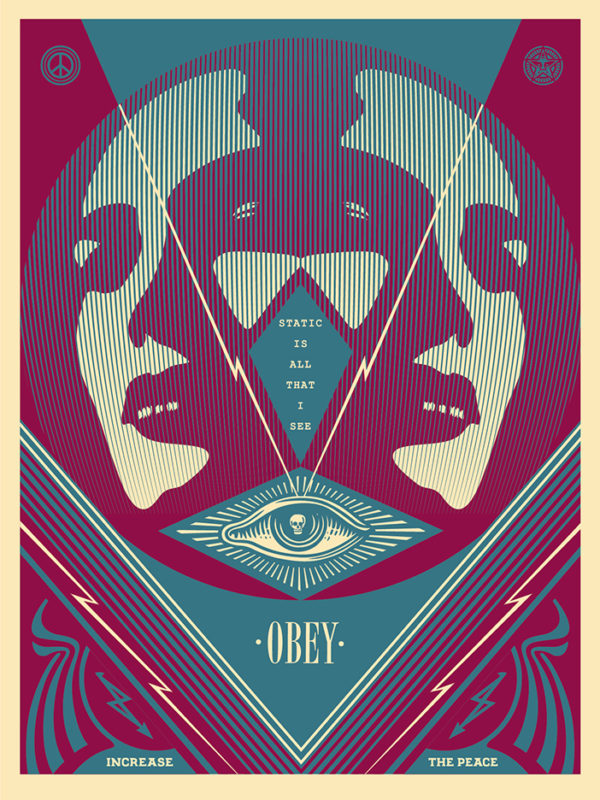 """I See Static"" by Shepard Fairey.  18"" x 24"" Screenprint.  Ed of 300 S/N.  $45 (Blue)"