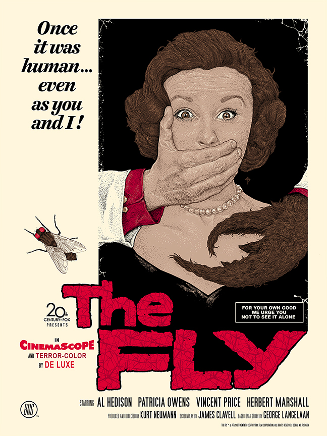 """The Fly"" by Timothy Pittides.  18"" x 24"" 6-color Screenprint.  Ed of 125 N.  $40"