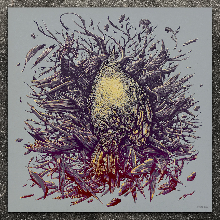 """Pyre"" by Kevin Tong.  9""  x 9"" Screenprint.  Ed of 100 S/N.  $30"
