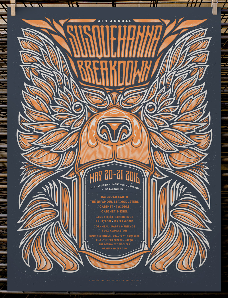 """Susquehanna Breakdown 2016"" by Joel Hunter.  18"" x 24"" 2-color Screenprint.  AP edition of 20 S/N.  $30"