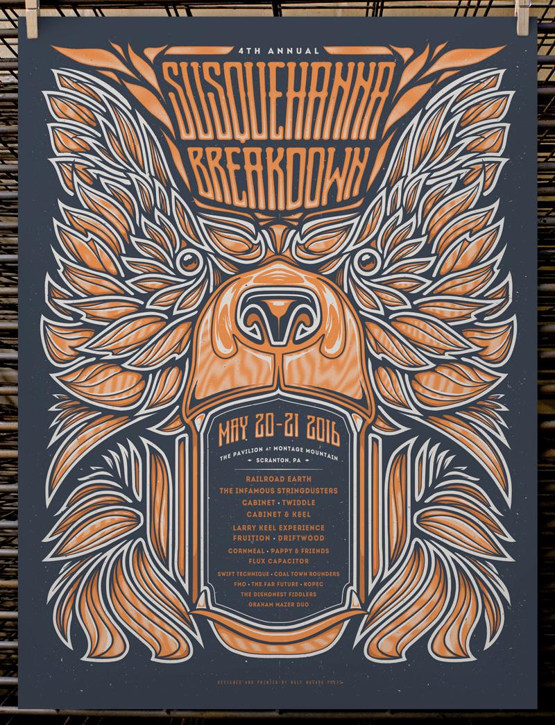 """""""Susquehanna Breakdown 2016"""" by Joel Hunter.  18"""" x 24"""" 2-color Screenprint.  AP edition of 20 S/N.  $30"""