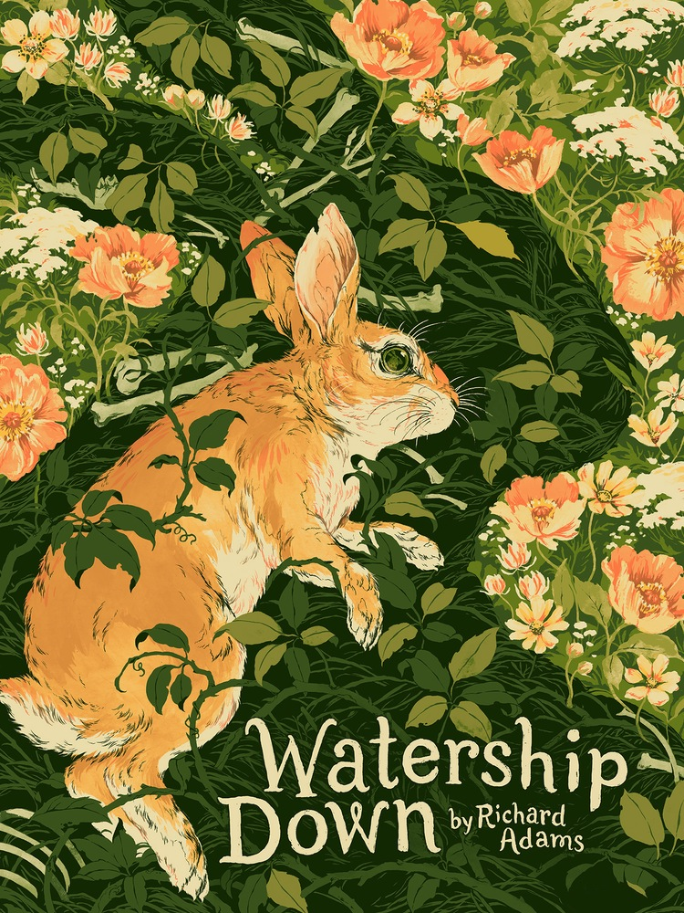 """Watership Down"" by Teagan White.  18"" x 24"" 5-color Screenprint.  Ed of 150 S/N.  £40 ($52)"
