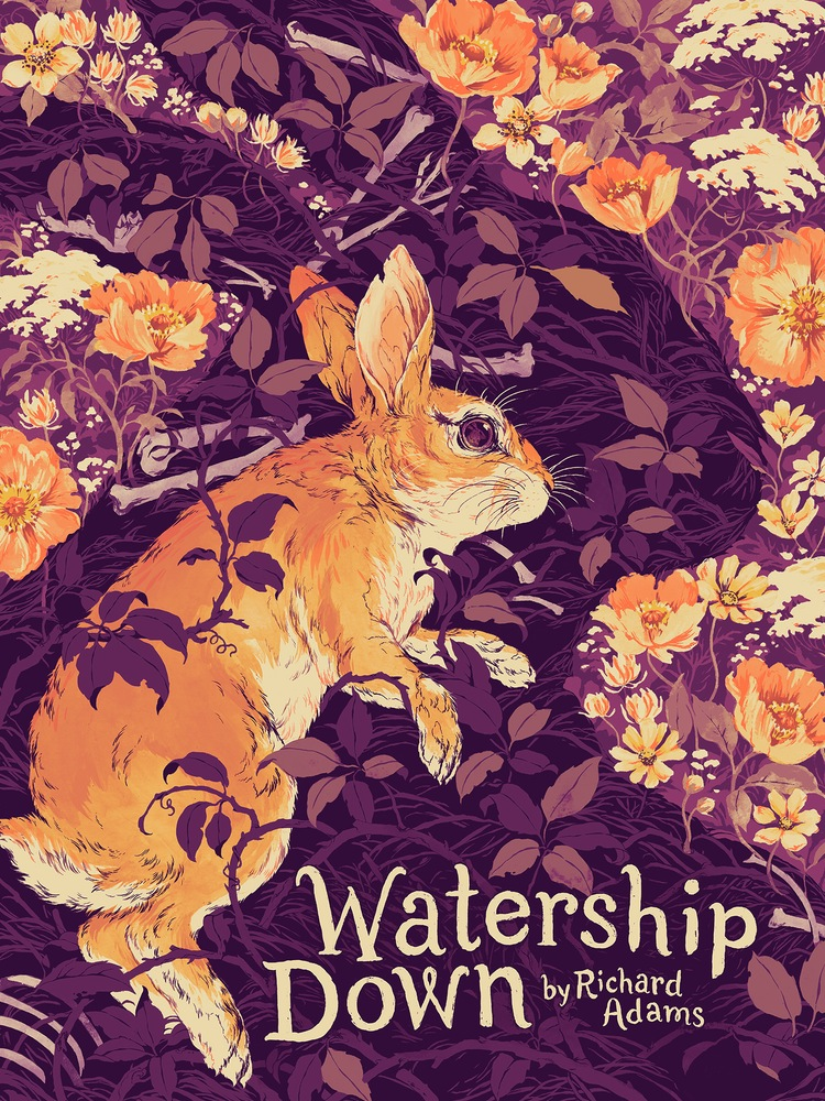 """Watership Down"" by Teagan White.  18"" x 24"" 5-color Screenprint.  Ed of 50 S/N.  £65 ($85) (variant)"