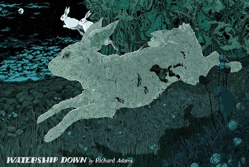 """Watership Down"" by Landland.  18"" x 22"" 8-color Screenprint.  Ed of 160 S/N.  £40 ($52)"