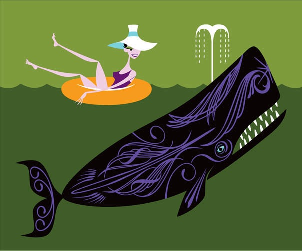 """The Ostentatious Whale"" by Shag.  19"" x 15"" 9-color Screenprint.  Ed of 150 S/N.  $275"