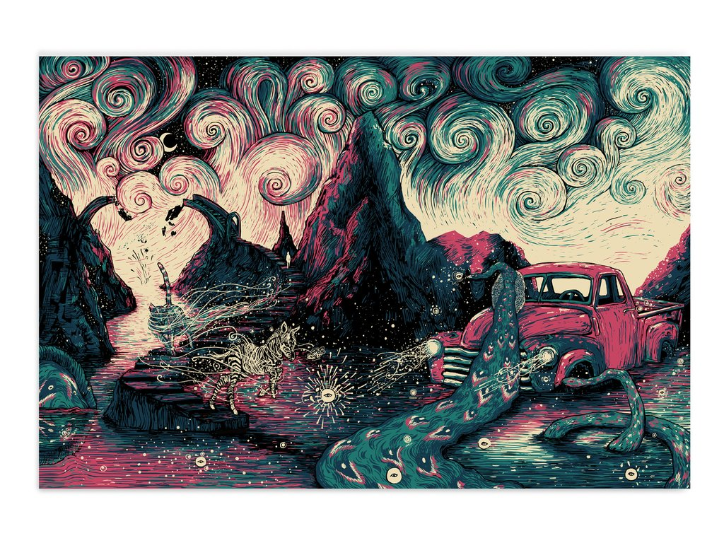 """The Unraveling"" by James R Eads.  24"" x 36"" 4-color Screenprint.  Ed of 45 S/N.  $45"