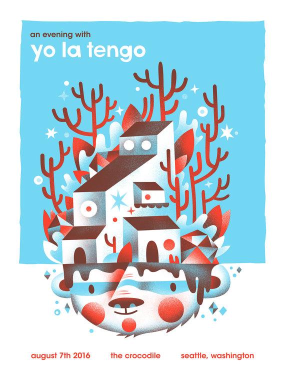 """""""Yo La Tengo - Seattle, WA 2016"""" by Aren Vandenburgh.  18"""" x 24"""" 2-color Screenprint.  $30"""