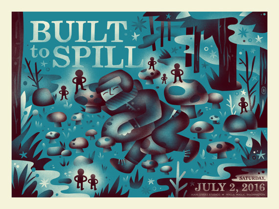 """Built To Spill - Walla Walla, WA 2016"" by Aren Vandenburgh.  18"" x 24"" 2-color Screenprint.  $30"