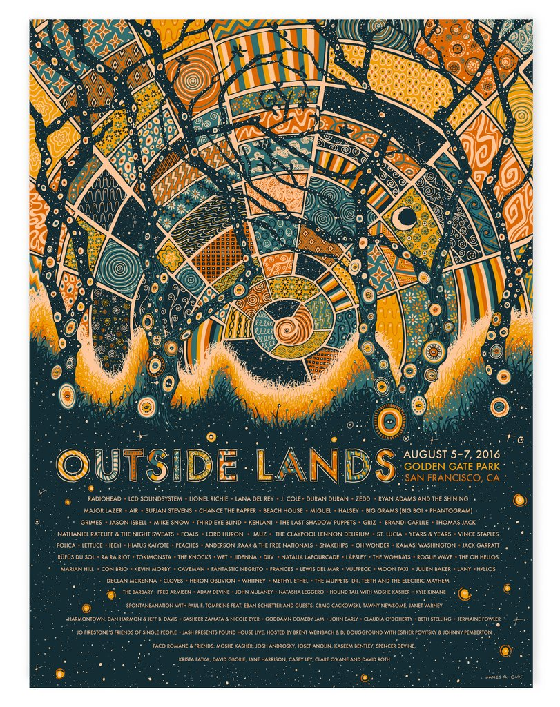 """Outside Lands 2016"" by James R Eads.  18"" x 24"" 4-color Screenprint.  AP edition of 50 S/N.  $45"