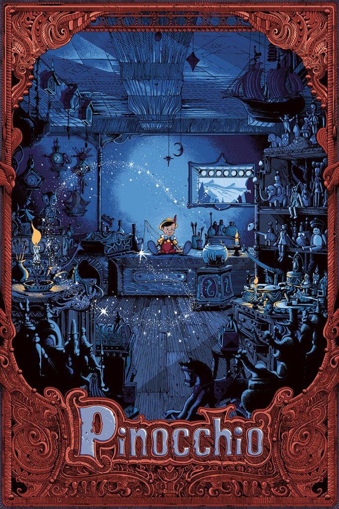 """Pinocchio"" by Kilian Eng.  20"" x 30"" 17-color Screenprint.  Ed of 100 N.  $100 (variant)"