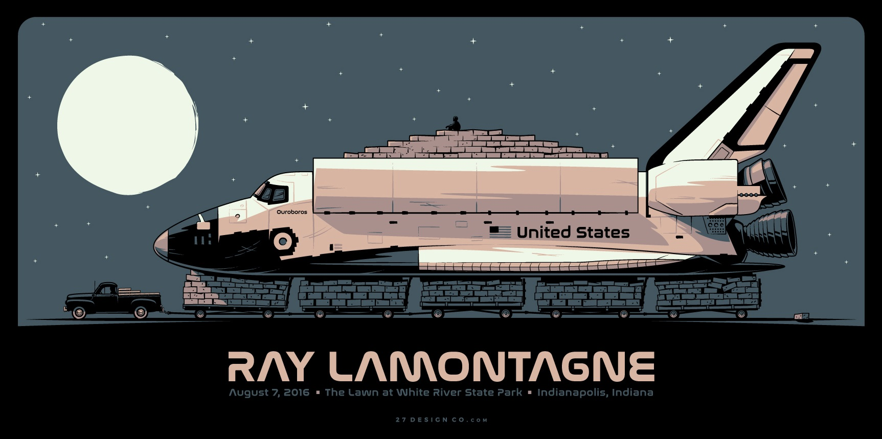 """Ray LaMontagne - Indianapolis, IN 2016"" by Charles Crisler.  24"" x 12"" 3-color Screenprint.  Ed of 142 S/N.  $25"