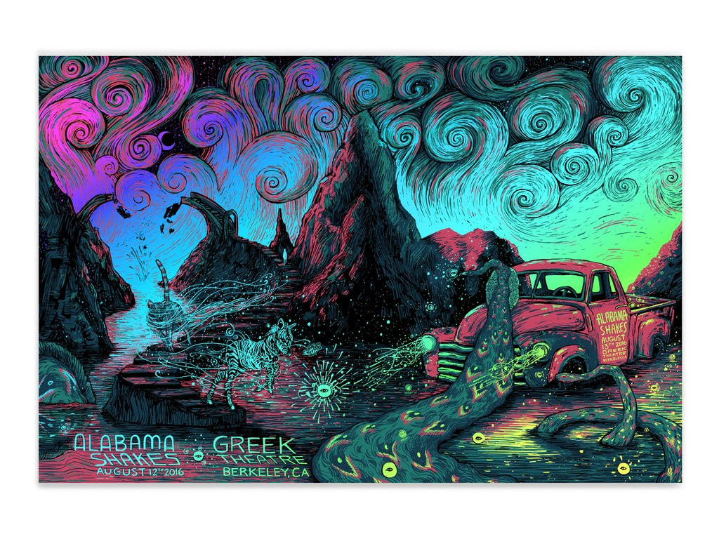 """Alabama Shakes - Berkeley, CA 2016"" by James R Eads.  24"" x 36"" 4-color Screenprint.  AP edition of 15 S/N.  $75 (Rainbow Hologram Foil)"