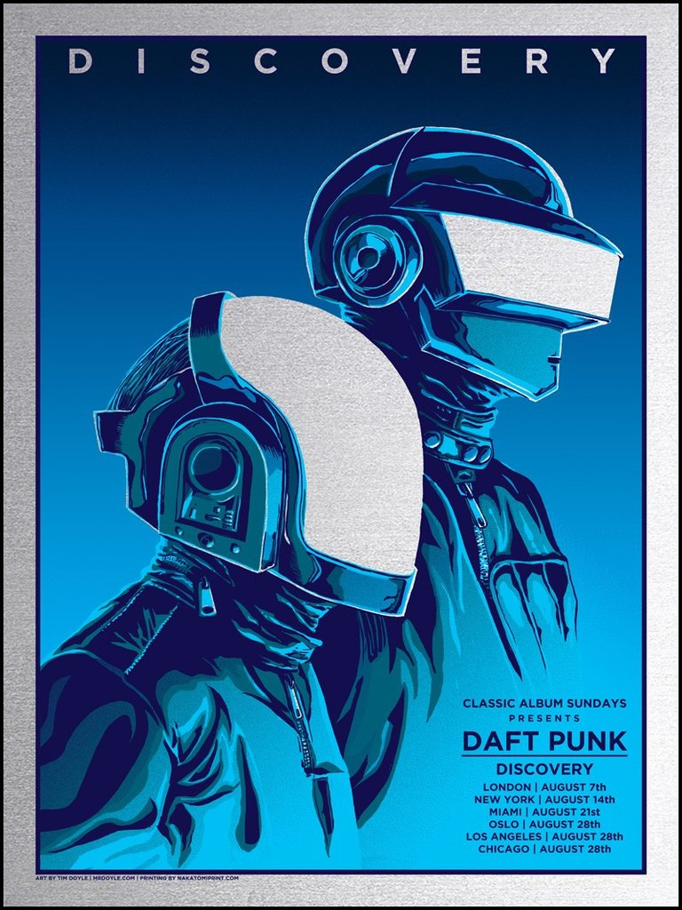 """Daft Punk"" by Tim Doyle.  18"" x 24"" 4-color Screenprint.  Ed of 40.  £45 ($60) (Silver Foil)"
