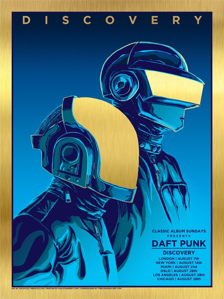 """Daft Punk"" by Tim Doyle.  18"" x 24"" 4-color Screenprint.  Ed of 20.  £60 ($80) (Gold Foil)"